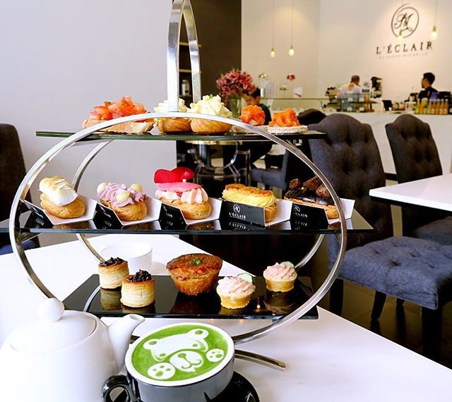 High-tea by @leclairpatisserie for 2.- $50nett (weekdays)  The tea set comes w one drink per person which is really value for money.