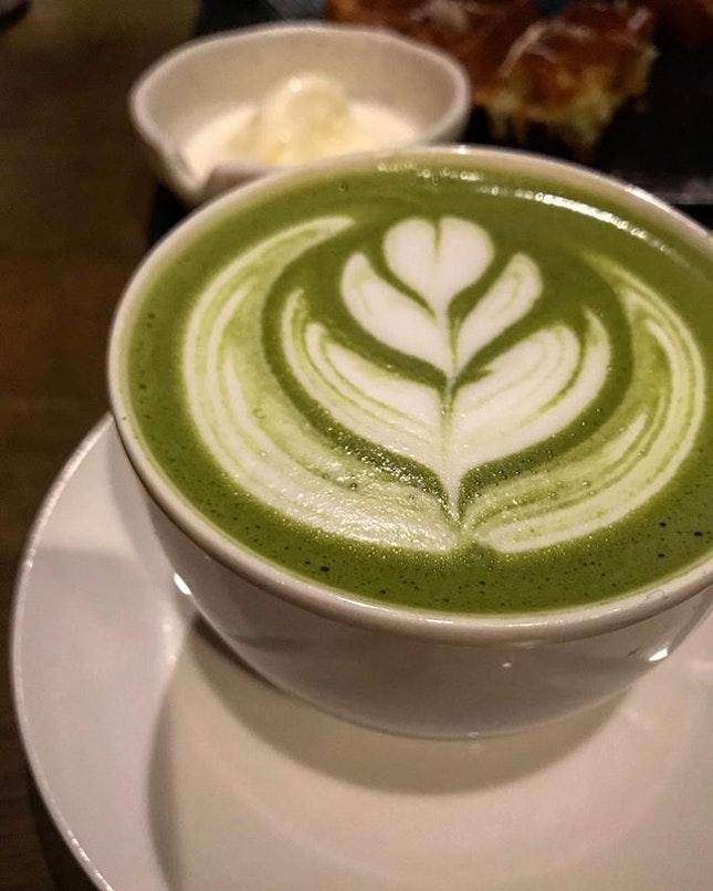 Matcha latte @ Skinny Dip, a hidden cafe in Kepong area (near/ not super near Desa Park area).