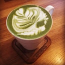 Green tea latte on a leisurely afternoon.