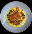 Braised pork belly with saffron risotto ($34) from @pollenrestaurantsg.