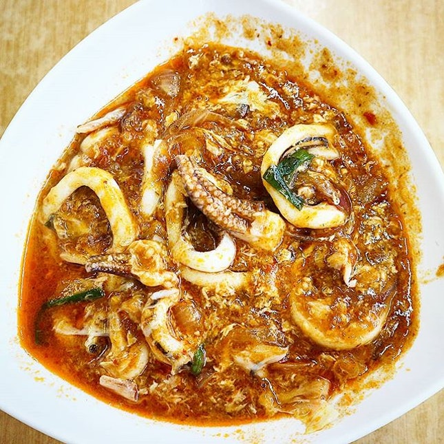 Sambal squid with a chilli crab gravy.