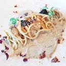 Spaghetti Carbonara Di Mare (SGD $32) @ Etna Italian Restaurant & Pizzeria.