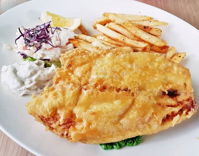 Beer-Battered Fish & Chips (SGD $25) @ Harry's.