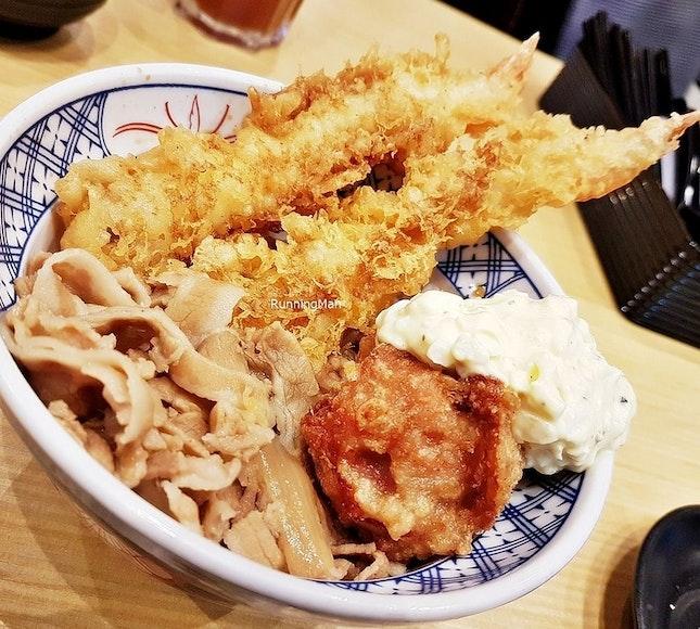 Ebi Tempura & Pork Shogayaki Donburi Set (SGD $13.90) @ Akimitsu.