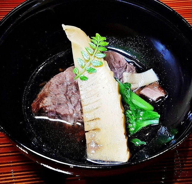 Iwate Wagyu Gyuniku Kubi, Kairan, Takenoko @ Mai By Dashi Master Marusaya.