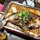 Grilled Patin In Mushroom Herb Broth, With Sliced Pork, Frozen Beancurd (SGD $50.60) @ Chong Qing Grilled Fish.