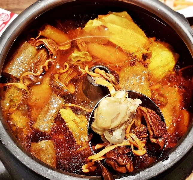Steam Pot Chicken Soup With Wild Mushrooms (SGD $39.80) @ Yun Nans Restaurant.