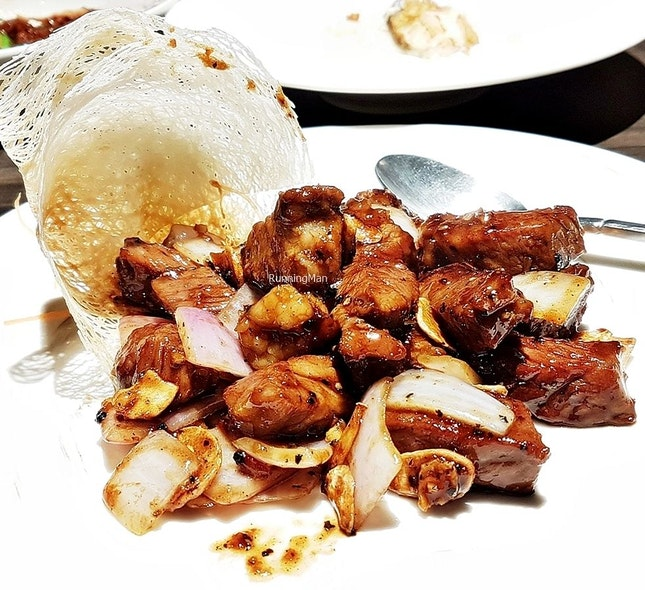 Stir-Fried Diced Beef With Garlic (SGD $30) @ Si Chuan Dou Hua Restaurant.
