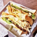 Spicy Pork, Egg, And Cheese With Lettuce Thick Toast Sandwich (SGD $6.90) @ Fong Sheng Hao.