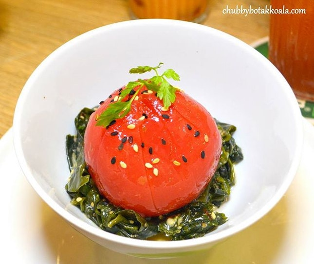 Sour Plum Vine Tomatoes with Seaweed ($7).