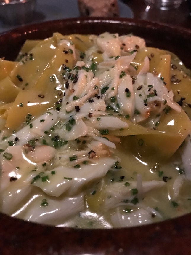 Crab & Black Pepper Papardelle ($28)