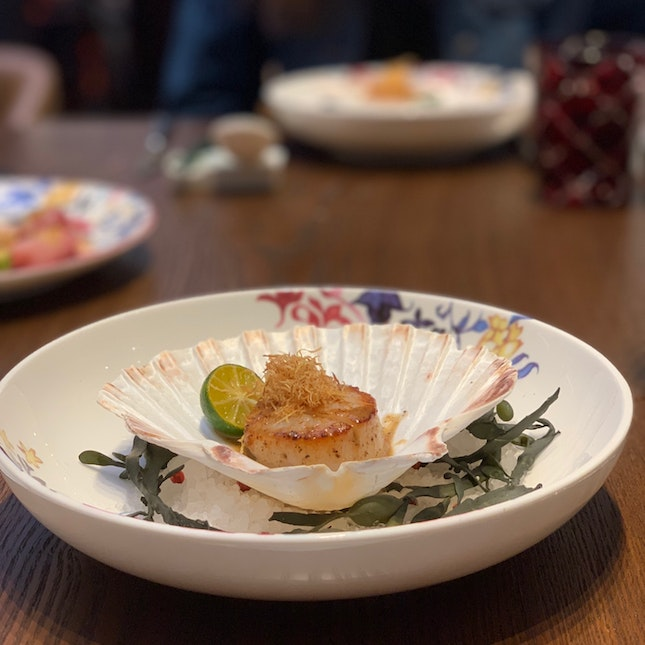 Hokkaido Scallop With Adobo Butter And Ginger ($12 per piece)