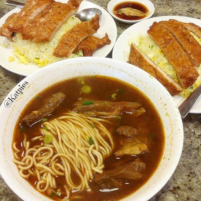 Special Braised Beef Noodle Soup with Beef Brisket and Fried Rice with Pork Chop (S$12.80).