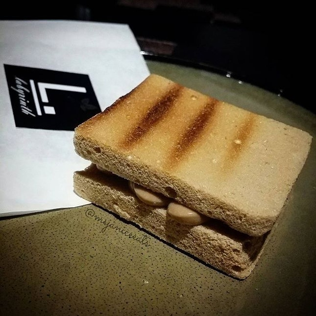 Discovery Menu 7am Meringue Teh Tarik  Looks like but it is not Kaya Toast.  It is actually toasted meringue slices sandwiching teh tarik mousse.  A really creative interpretation!