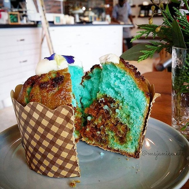 Pea Flower Coconut Muffin. May your weekend be as delightful and pleasant as this pretty sweet treat!