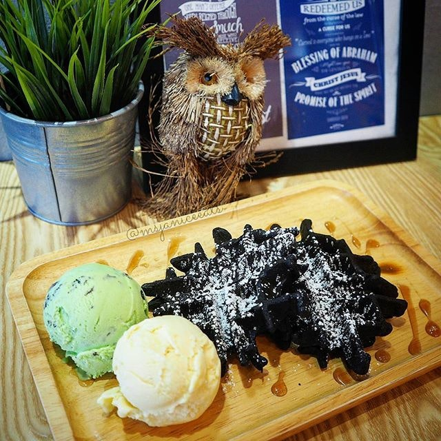 Charcoal Snowflakes Waffles with Ice Cream (Mao Shan Wang and Mint Kisses) 🍦 Nothing like some crispy waffles served with delightful scoops of handcrafted ice cream (especially MSW!