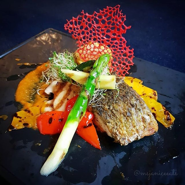 🌟 [NEW MENU] Trancio di Branzino Grigliato (S$32.90) 🌟  A beautifully-plated griĺled seabass dish which is served with red pepper and Pachino tomato coulis, a touch of ginger, baked potato cylinder with lemon and thyme flavour, mixed grilled vegetables and extra virgin olive oil.