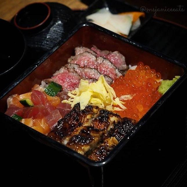 ⭐ Unagiya Ichinoji ~ Ichinoji Mixed Box (S$36.80) ⭐  In conjunction with its first anniversary, Unagiya Ichinoji has launched this limited-time Ichinoji Mixed Box, which consists of the restaurant's signature unagi, fresh kaisen tuna, salmon and hamachi, glistening globes of fresh Japanese ikura and charcoal-grilled Kagoshima A5-grade wagyu.