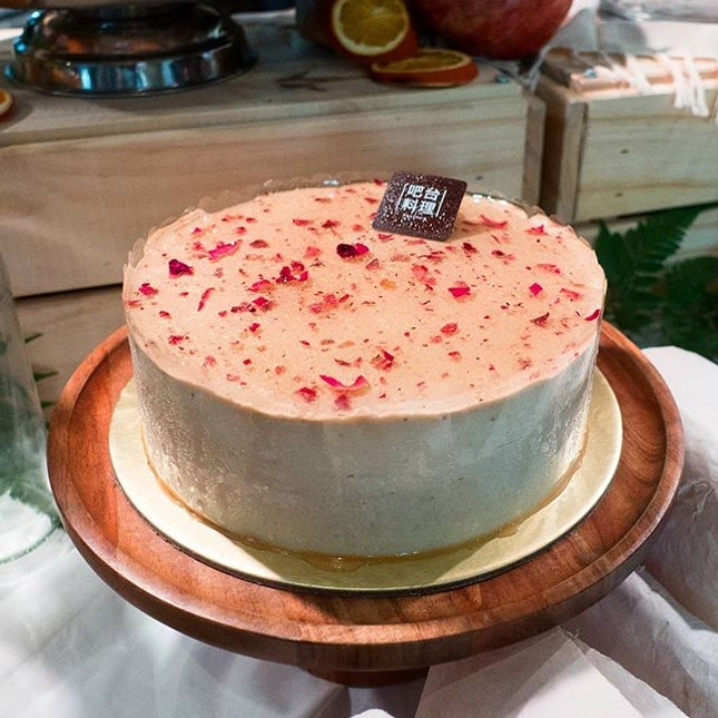 Rose Lychee Cake, a elegant light treat of featuring a myriad of textures from the almond-flavoured sponge, white-chocolate mousse, rose tea-infused creme brulee and crisps sable base.