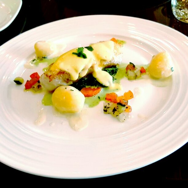 Pan Fried Cod Fish With Creamy Baby Spinach & Virgin Sauce