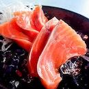 Salmon Sashimi ($6 for 5 slices)