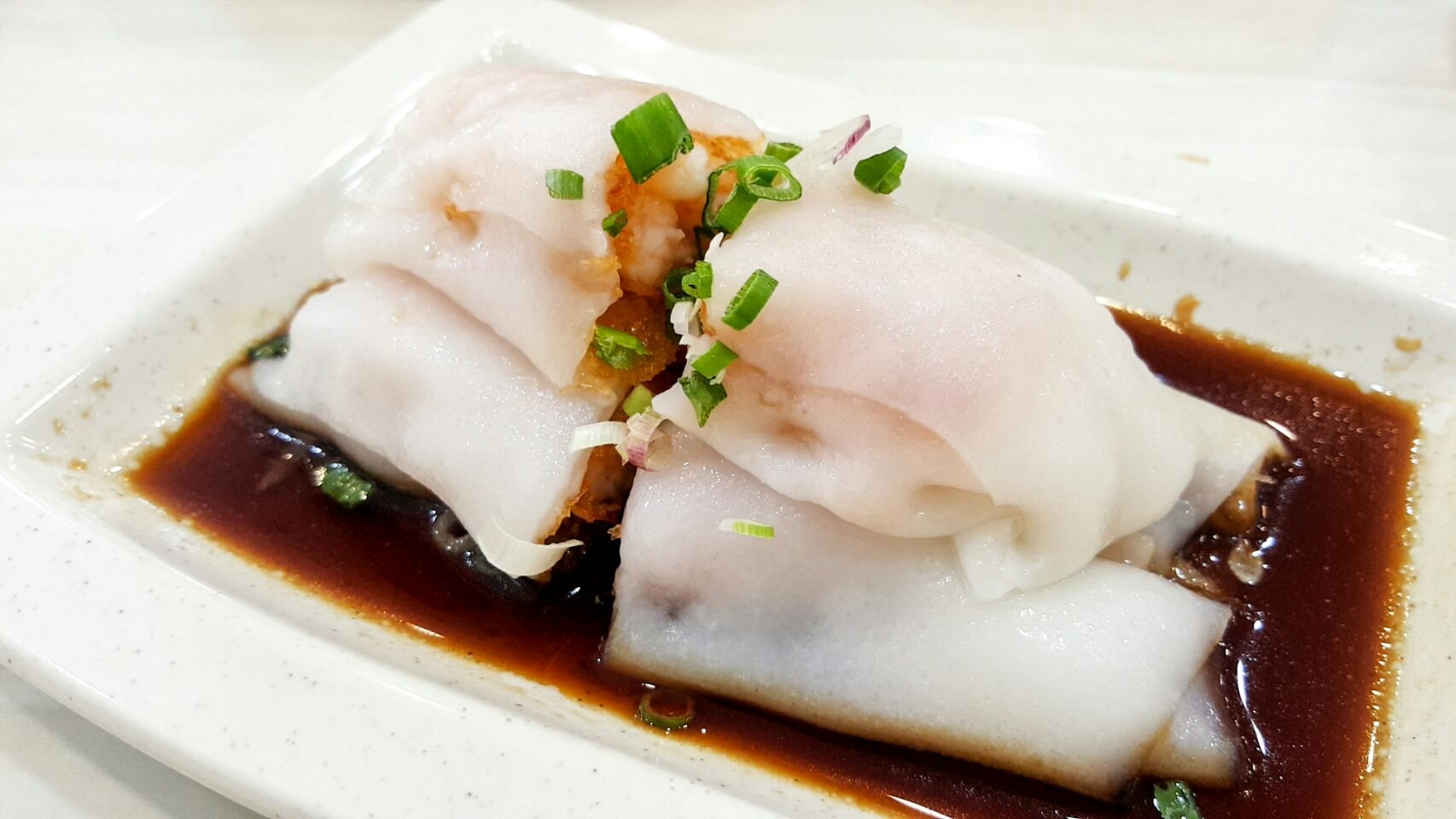 Steamed Rice Roll With Crispy Prawn ($4.20)