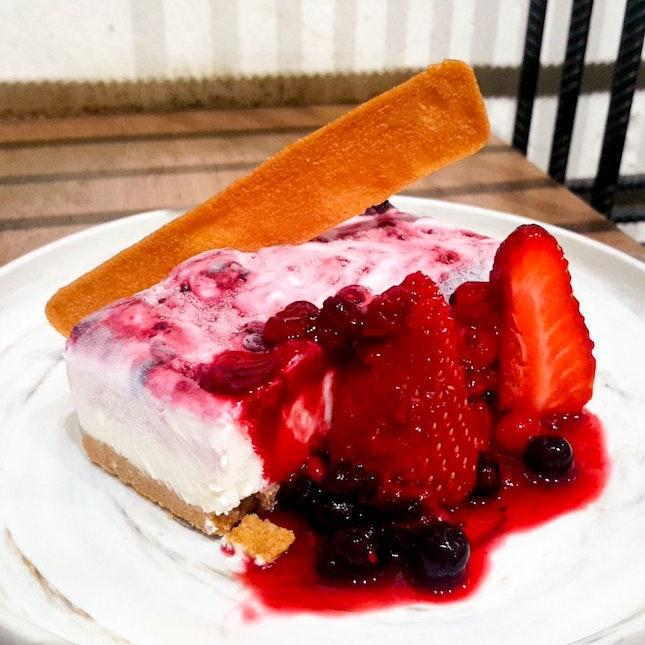 Mixed Berry Ripple Ice Cream Cheese Cake ($8)