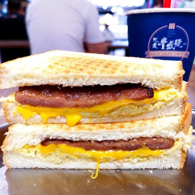 Pork & Cheese Omelette Sandwich + Signature Milk Tea