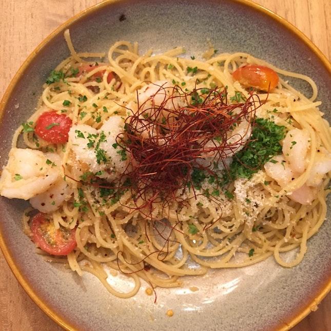 White Wine Prawn Spaghetti