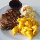 Today's Lunch; Chicken Chop, Tasty Rice and Mac&Cheese.