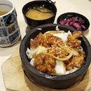 Ishiyaki Tori Ankake, served with Miso soup, Japanese Pickles and Green Tea ($5.90)