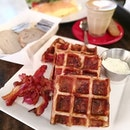 Cheddar Cheese Bacon Waffles (Sgd19); Cheese and bacon bits were baked into the waffles, and it goes so well with the sour cream.