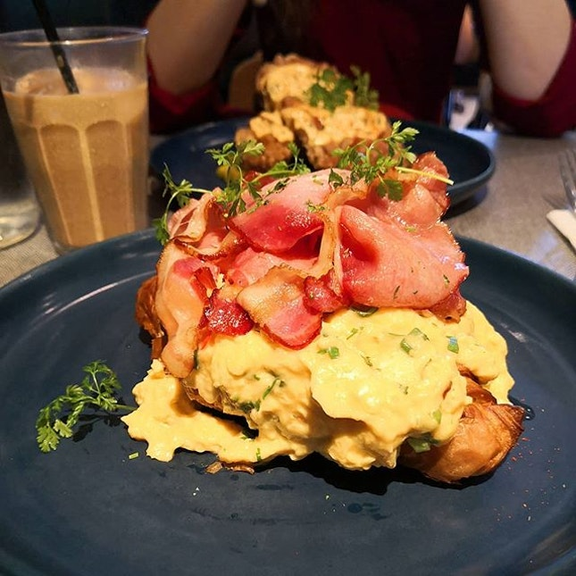 Finally here at Populus for brunch; The Populus Scramble ($19) Signature soft creamy scrambled eggs, fresh herb melange, marinated feta, back bacon and toasted crossaint.