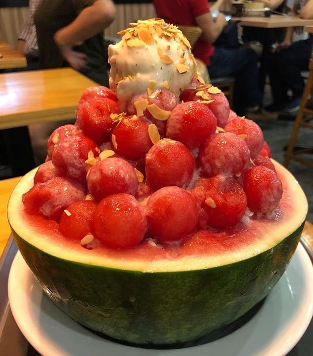 Watermelon bingsu from @binggojung.