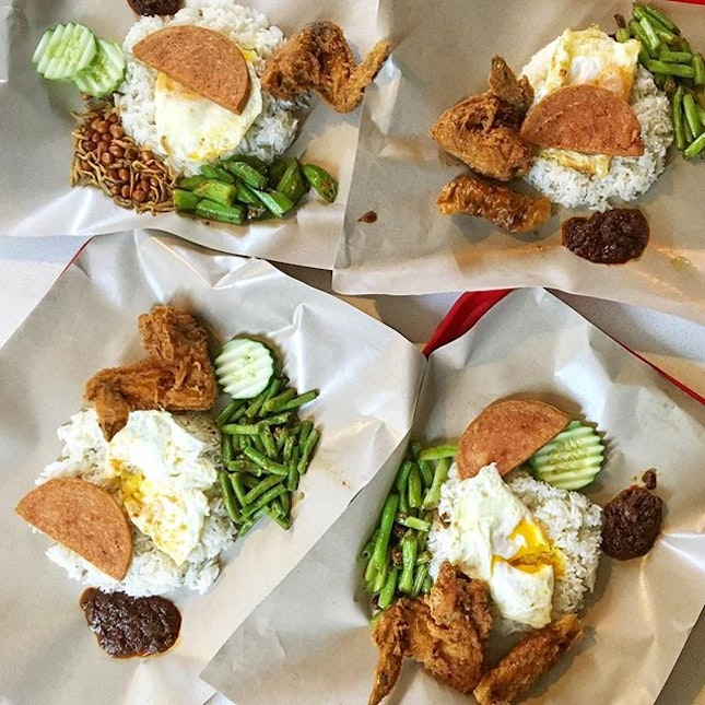 ; Food's always better with company  Introducing @calsia to (still can't believe she's never had) the full Nasi Lemak works of Fried Chicken, fat wedge of Spam, Fried Egg, greens (for better digestion), fragrant coconut rice and a whopping tablespoon of sweet chilli.