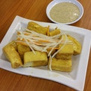 Crispy deepfried tofu with sesame sauce!