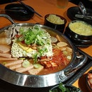 Budae Jjigae + steam eggs set ($36.90), we top up 1 portion of ramyeon at $3.90!