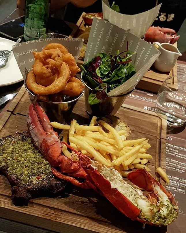 Last Night Dinner - Surf & Turf with unlimited fries & salad (£36 = approx SGD 65).