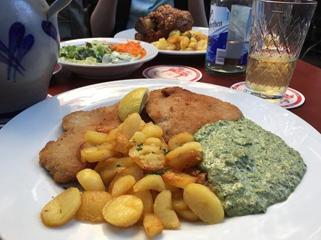 Dinner last night: Reputedly the best #Schnitzel in #Frankfurt says my colleagues.