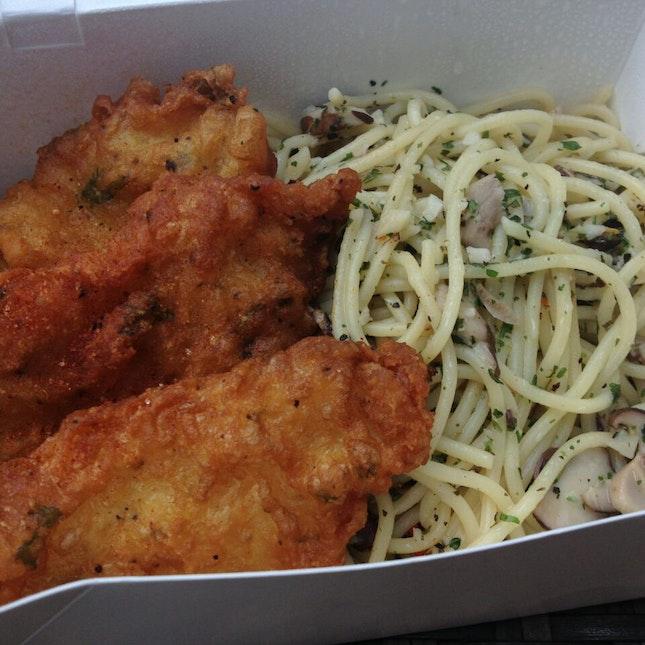 fried fish with aglio olio :)