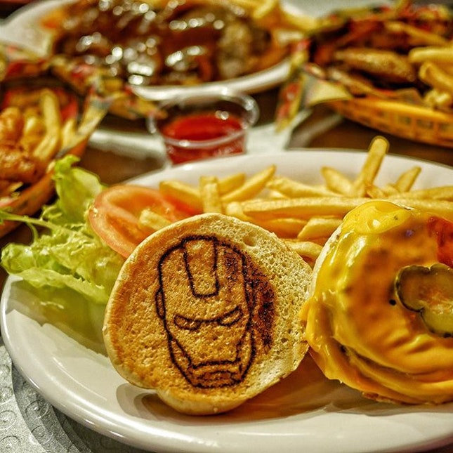 Order this Burger just because there is a Iron Man printed on it.