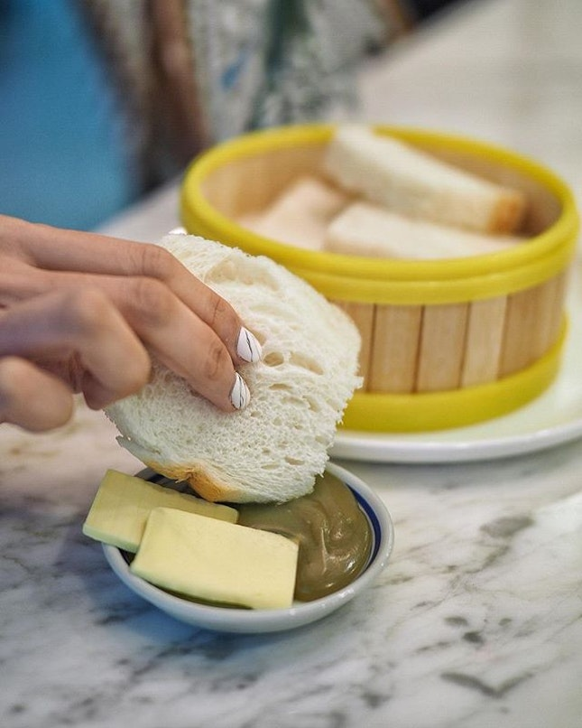 Steamed Hainan Bread in Butter and Kaya ($2.90) Start your morning on a sweet note by smearing a generous slab of Butter along with Homemade Kaya spread onto the Soft, Chewy White Bread slices.