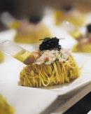 Cold Capellini Pasta with Alaskan Crab, Ebi, Caviar and Truffle Vinaigrette ($108.00 for 4 pax) .