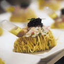Cold Capellini Pasta with Alaskan Crab, Ebi, Caviar and Truffle Vinaigrette ($108.00 for 4 pax) .