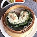 Steamed Hainanese Chicken with Sticky Rice Wrapped in Lotus Leaf ($4.00++ per piece) .