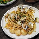 Vongole Pasta ($26.00 + $8.00 for add on scallops) from SE7ENTH @oakwoodpremierouesingapore Pasta Clams cooked with Garlic, Chili and White Wine .