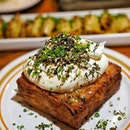 Housemade hashbrown, Sour Cream, Fresh Chive Za'atar ($14.00) Peeled Russet potatoes are steamed, grated, and seasoned with corn flour and salt, then covered with foil and baked at low temperature of 150 degrees Celsius for an hour.