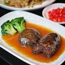 Crispy Fried Sea Cucumber and Shiitake Mushroom with Abalone Sauce (S$26.00 per portion)