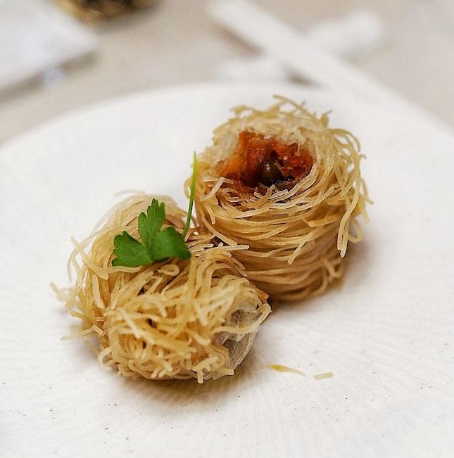 Crispy Char Siew Turkey with Pine Nuts Kataifi.