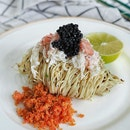 Chilled Seaweed Pasta with King Crab, Sakura Ebi, Cavier and White Truffle Vinaigrette